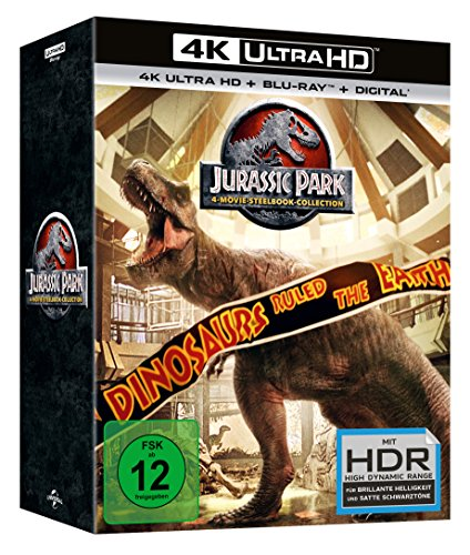 Jurassic Park 1-4 (Steelbook) (25th Anniversary Edition) - 4K Ultra HD [UHD + Blu-ray Disc]