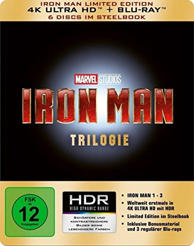Iron Man Trilogie (Steelbook) - Ultra HD Blu-ray [4k + Blu-ray Disc]