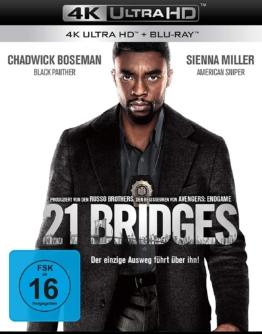 21 Bridges (Film) - Ultra HD Blu-ray Disc Cover mit Chadwick Boseman