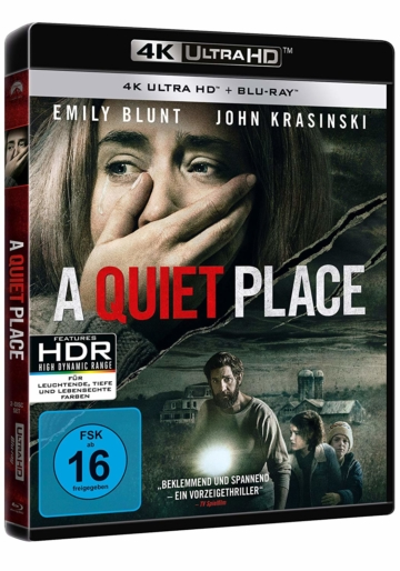 A Quiet Place Seitenansicht Cover mit Dolby Vision HDR auf UHD Blu-ray Disc