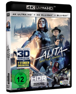 Alita - Battle Angel 4K Ultra HD + 3D + Blu-ray Disc Cover