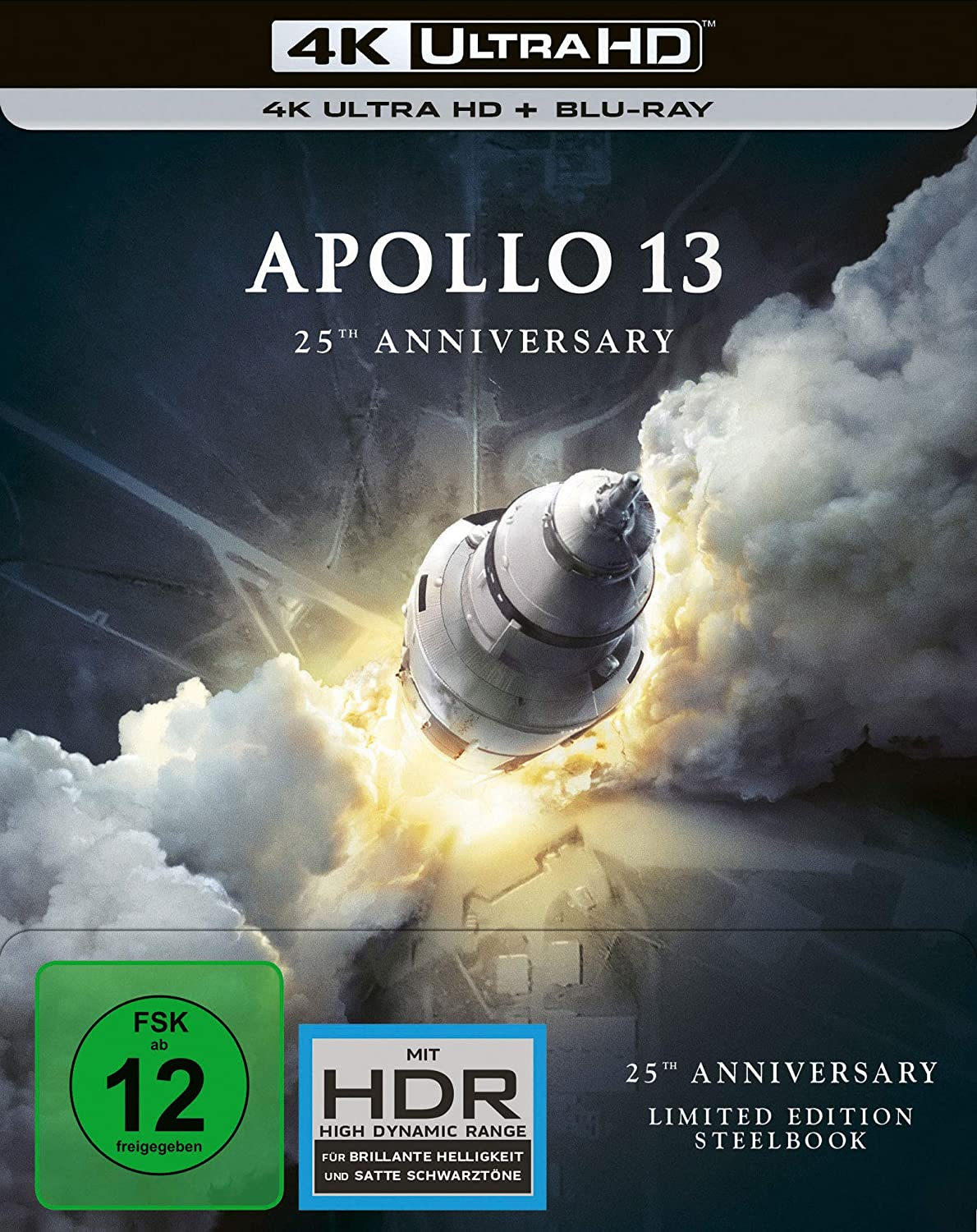Apollo 13 im 4K UHD Steelbook (Abbild: Saturn V, Seriennummer AS-508)