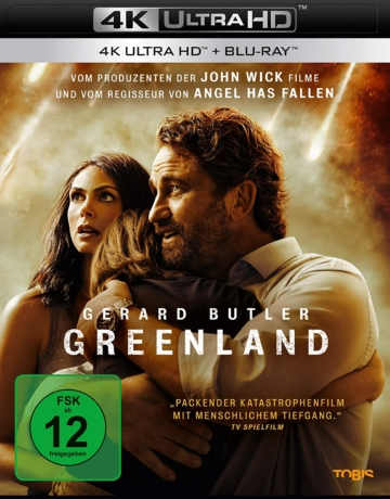 Greenland 4K UHD Blu-ray Disc Cover mit Gerard Butler
