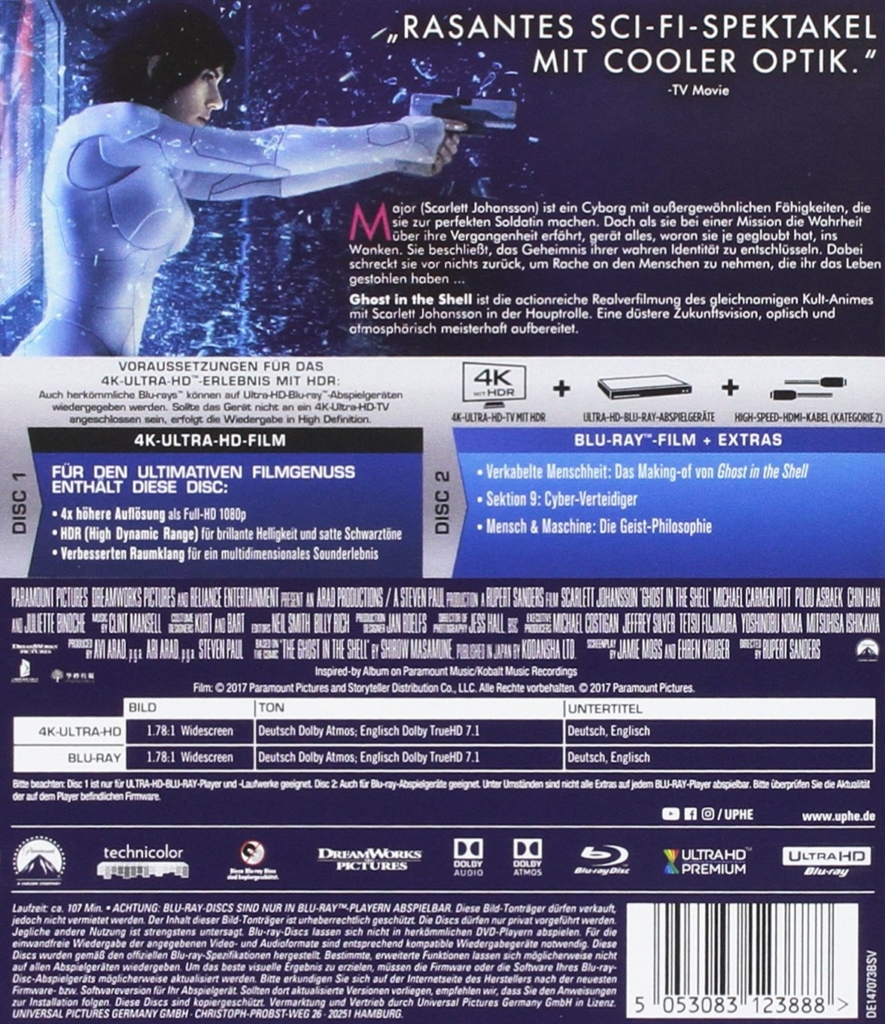 Ghost in the Shell 4K Backcover der UHD Blu-ray Disc