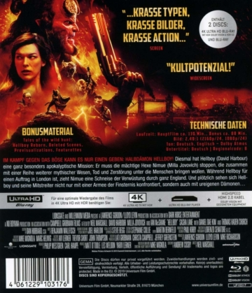 Backcover von Hellboy Call of Darkness 4K zeigt Dolby Vision und Dolby Atmos