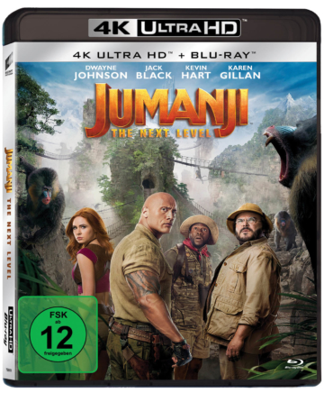 Jumanji: The Next Level 4K UHD Blu-ray Cover mit Dwayne Johnson