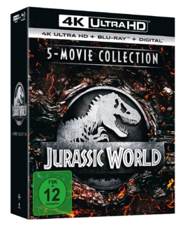 Jurassic World und Jurassic Park 5 Movie UHD Blu-ray Disc Collection mit 4K Blu-ray und Blu-ray Disc sowie Digital Copy