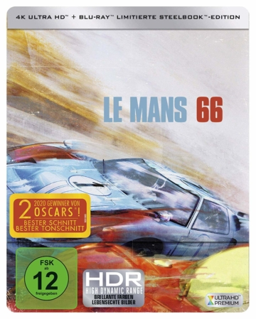Le Mans 66 - 4K UHD Blu-ray Steelbook Cover mit HDR Logo