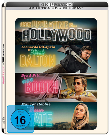 Once Upon A Time in Hollywood 4K UHD Steelbook Frontcover mit Brad Pitt und Leonardo DiCaprio