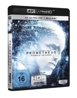 Prometheus 4K Blu-ray Disc (Dunkle Zeichen) Frontcover mit HDR Logo