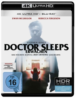 Stephen Kings Doctor Sleep 4K UHD Blu-ray Disc Cover mit Ewan McGregor zeigt Kinofassung und Extended Cut