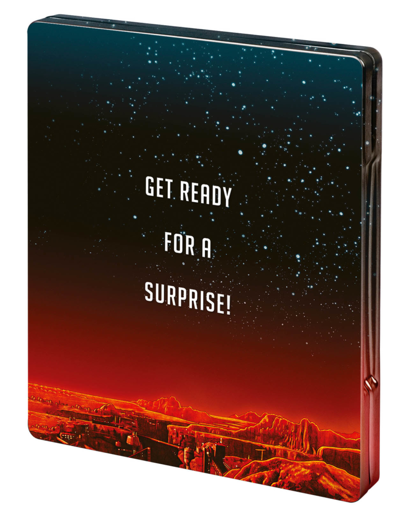 "Total Recall Backcover vom 4K UHD Blu-ray Disc Steelbook mit den Worten ""Get Ready for a Surprise"""